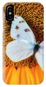 Beautiful White Butterfly On Sunflower IPhone Case