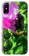 Bee Climbing Into Flower IPhone Case