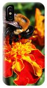 Bee On Marigold IPhone Case by William Selander