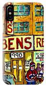 Ben's Famous Smoked Meat Montreal Memories Canadian Paintings Hockey Scenes And Landmarks  C Spandau IPhone Case