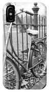 Bicycles Parked At Fence On Street, Netherlands IPhone Case