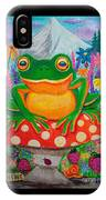 Big Green Frog On Red Mushroom IPhone Case