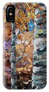 Birch Trees Oil Painting With Palette Knife  IPhone Case