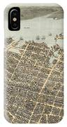 Birds Eye View Of Charleston 1872 IPhone Case