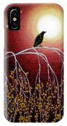 Black Crow On White Birch Branches IPhone Case