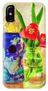 Blue Birdhouse And Red Tulips 2 IPhone Case