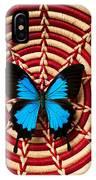 Blue Black Butterfly In Basket IPhone Case