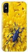 Blue Bug On Yellow Mum IPhone Case