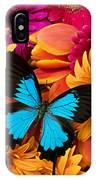 Blue Butterfly On Brightly Colored Flowers IPhone Case