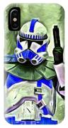 Blue Commander Stormtrooper At Work - Da IPhone Case