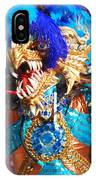 Blue Feather Carnival Costume And Colorful Background Horizontal IPhone Case