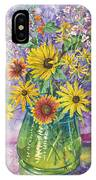 Blue-green Vase Of Wildflowers IPhone Case