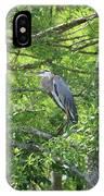Blue Heron In Green Tree IPhone Case