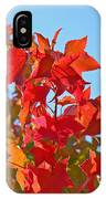 Blue Sky Autumn Art Prints Colorful Fall Tree Leaves Baslee IPhone Case