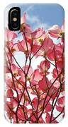 Blue Sky Clouds Landscape 7 Pink Dogwood Tree Baslee Troutman IPhone Case