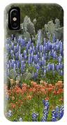Bluebonnet Paintbrush And Prickly Pear IPhone Case
