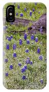 Bluebonnets And Fallen Tree - Texas Hill Country IPhone Case