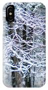 Blurred Shot Of Snow-covered Trees IPhone Case