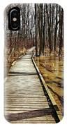 Boardwalk Over Golden Brown Iced Pond IPhone Case