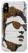 Bob Dylan Minnesota Native Recycled Vintage License Plate Portrait On White Wood IPhone Case