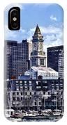 Boston Ma - Skyline With Custom House Tower IPhone Case