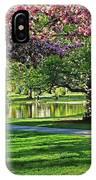 Boston Public Garden Pond Through The Cherry Blossom Spring Day IPhone Case