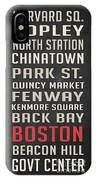 Boston Subway Stops Poster IPhone Case