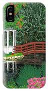 Botanical Garden Park Walk Pink Azaleas Bridge Gazebo Flowering Trees Pond IPhone Case