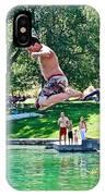 Boy Jumping Off The Board Into Dierkes Lake In Snake River Near Twin Falls-idaho   IPhone Case