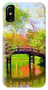 Bridge With Red Bushes In Spring IPhone Case