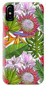 Brightly Colored Tropical Flowers And Ferns  IPhone Case