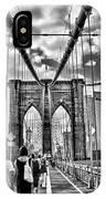 Brooklyn Bridge Walkway   B  And  W IPhone Case