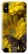 Brown Butterfly On Yellow Daisies  IPhone Case