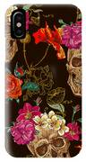 Brown Skulls And Flowers IPhone Case