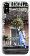 Bubbles Blow From An Ornate Balcony In New Orleans At Mardi Gras IPhone Case