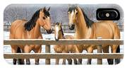 Buckskin Quarter Horses In Snow IPhone Case