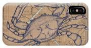 Burlap Blue Crab IPhone Case
