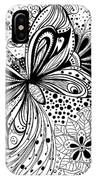 Butterfly And Flowers, Doodles IPhone Case