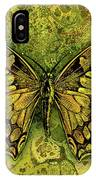 Butterfly In Greens-amber Collection  IPhone Case