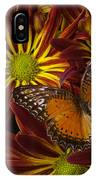 Butterfly Resting On Chrysanthemums IPhone Case