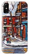 Buy Original Wilensky Montreal Paintings For Sale Achetez Petits Formats Scenes De Rue Street Scenes IPhone Case