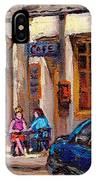 Outdoor Cafe Painting Vieux Montreal City Scenes Best Original Old Montreal Quebec Art IPhone Case