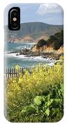 California Coast With Wildflowers And Fence IPhone Case