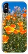California Poppies, White Grasses And Blue Sky In Windy Antelope Valley Ca Poppy Reserve IPhone Case