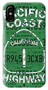 California Route 1 Pacific Coast Highway Sign Recycled Vintage License Plate Art IPhone Case