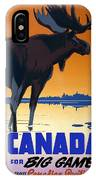 Canada For Big Game Travel Canadian Pacific - Moose - Retro Travel Poster - Vintage Poster IPhone Case