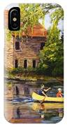 Canoeing Past The Mill IPhone Case