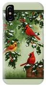 Cardinals And Holly - Version With Snow IPhone X Case