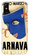 Carnaval En La Habana 1941 - Carnival Mask - Retro Travel Poster - Vintage Poster IPhone Case