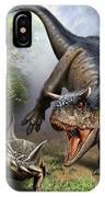 Carnotaurus Attacking An Antarctopelta IPhone Case